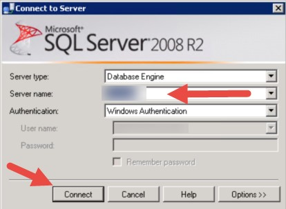 Connection string window in SQL Server