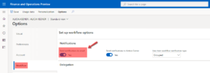 Click Workflow > under Notifications, see if the Send notifications in email field is set to Yes or No.
