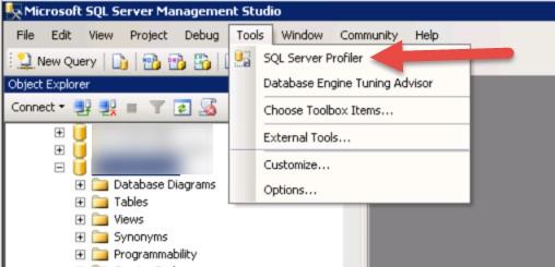 SQL Server Profiler button