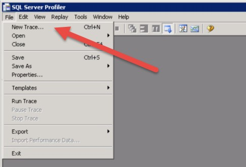 Creating a new trace in SQL Server Profiler