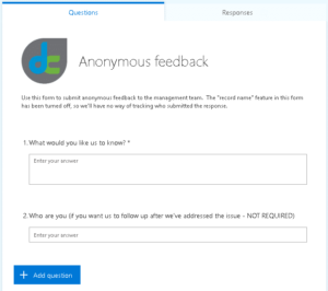 Anonymous feedback form