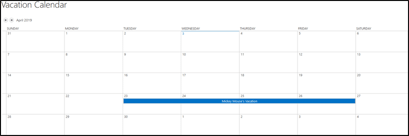 Vacation Submitted Calendar