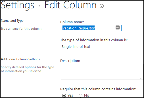 Vacation Request List - Edit Column